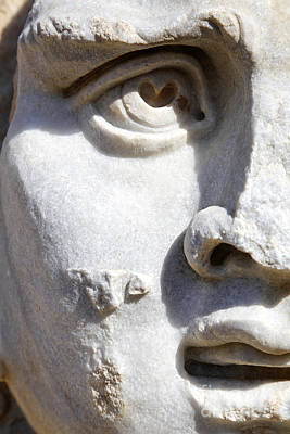 Close Up Of A Sculpted Medusa Head At The Forum Of Severus At Leptis Magna In Libya Poster by Robert Preston