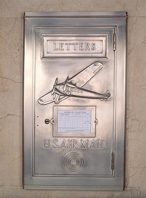 Close-up Of Art Deco Metal Mailbox, Two Poster