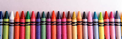Close-up Of Assorted Wax Crayons Poster