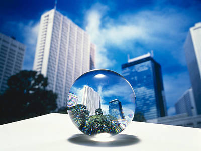 Close Up Of Clear Globe With White Sky Poster by Panoramic Images