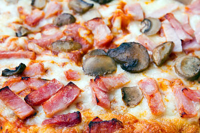 Close Up Of Ham And Mushroom Pizza Poster by Fizzy Image