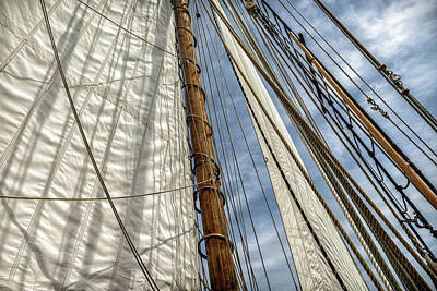 Close-up Of Sails And Mast Poster by Rona Schwarz