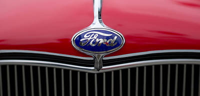 Close-up Of The Logo Of Fords Car Poster