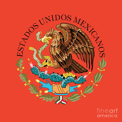 Close Up Of The Seal Within The Mexican National Flag Poster by Bruce Stanfield