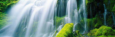 Close-up Of Waterfall On Moss Covered Poster by Panoramic Images
