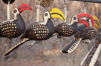Close-up Of Wooden Bird Carvings Poster