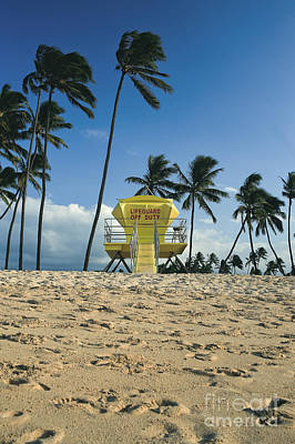Closed Lifeguard Shack On A Deserted Tropical Beach With Palm Tr Poster by Edward Fielding