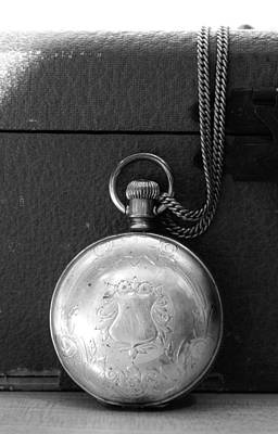 Closed Pocket Watch In Black And White Poster by CJ Rhilinger