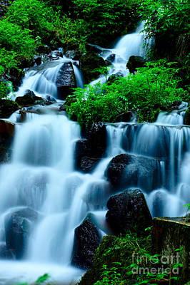 Closeup Of Beautiful Waterfall In Karuizawa Japan Poster