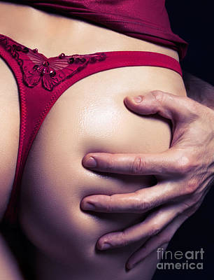 Closeup Of Man Hand On Sexy Woman Buttocks Poster by Oleksiy Maksymenko