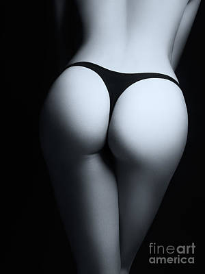 Closeup Of Sexy Woman Butt In Black Thongs Black And White Poster