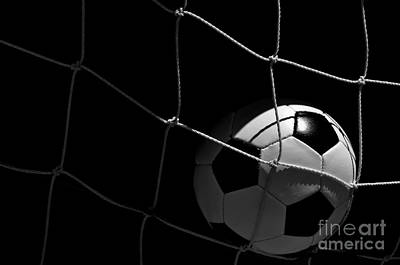 Closeup Of Soccer Ball In Goal Poster