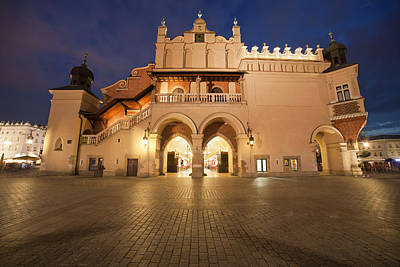 Cloth Hall Side View At Night In Krakow Poster by Artur Bogacki