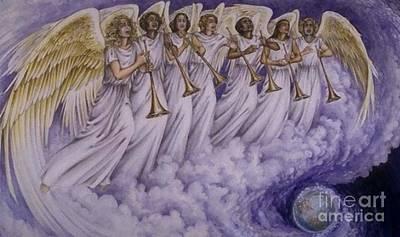 Cloud Of Seven Archangel Poster by Archangelus Gallery