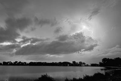 Cloud To Cloud Lake Lightning Strike In Bw Poster by James BO  Insogna