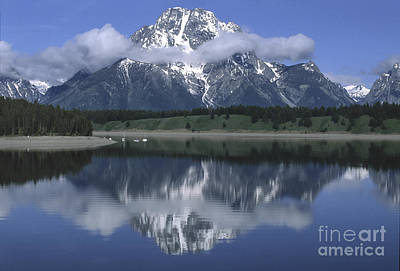 Clouds And Mt. Moran - Grand Teton Poster by Sandra Bronstein