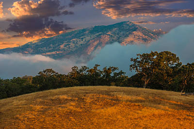 Clouds Fog And Mt Diablo Poster