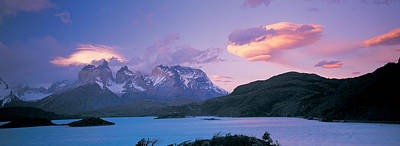 Clouds Over Mountains, Towers Of Paine Poster