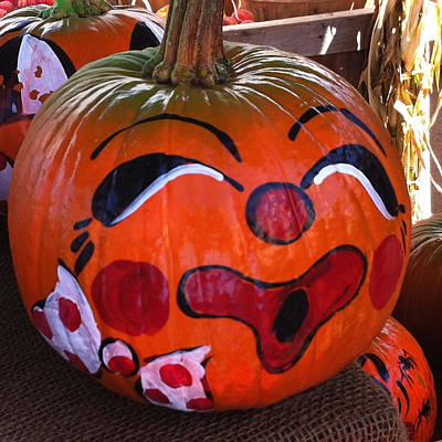Poster featuring the photograph Clown Pumpkin by Denyse Duhaime
