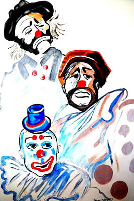 Poster featuring the painting Clowns In Heaven by Nora Shepley