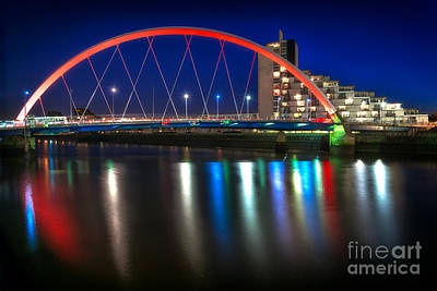 Clyde Arc Glasgow At Night Poster by John Farnan