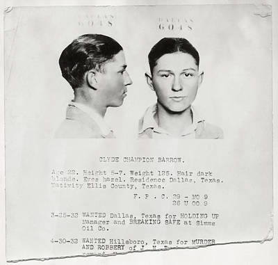 Clyde Champion Barrow Mugshot - Dallas Texas  Poster