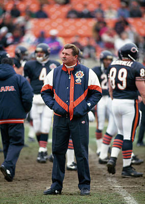 Coach Ditka Standing In A Stadium Poster