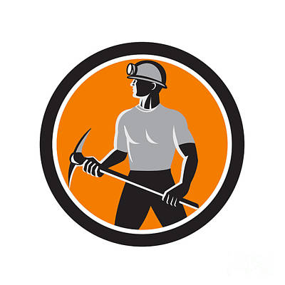 Coal Miner Holding Pick Axe Side Circle Retro Poster