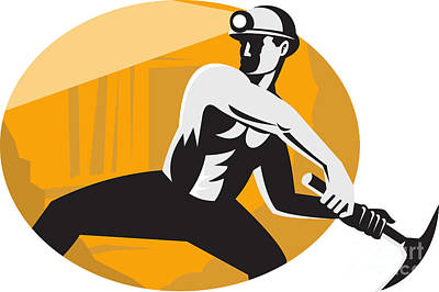 Coal Miner With Pick Ax Striking Retro Poster