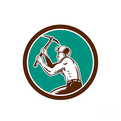 Coal Miner With Pick Axe Circle Retro Poster