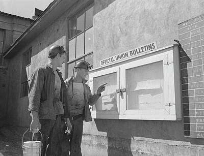 Coal Miners Read A Notice Poster