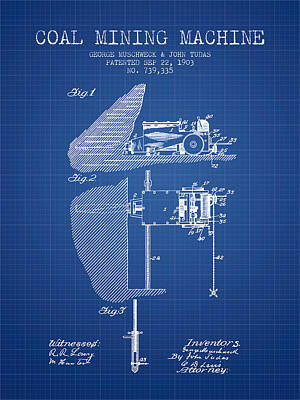 Coal Mining Machine Patent From 1903- Blueprint Poster by Aged Pixel