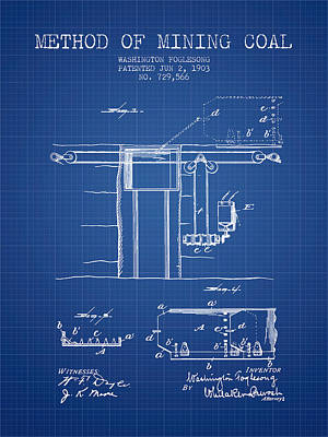 Coal Mining Patent From 1903- Blueprint Poster by Aged Pixel