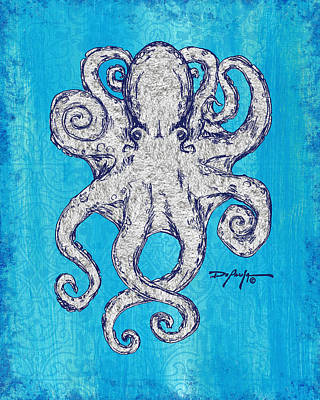 Coastal Art Escape The Octopus Poster by William Depaula