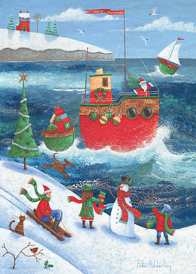 Coastal Christmas Poster by Peter Adderley