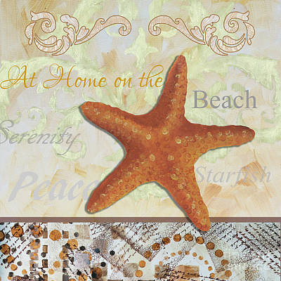 Coastal Decorative Starfish Painting Decorative Art By Megan Duncanson Poster by Megan Duncanson
