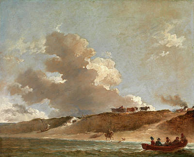 Coastal Landscape With A Ferry Boat Signed And Dated Poster