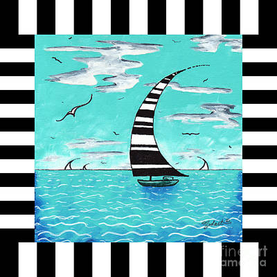Coastal Nautical Decorative Art Original Painting With Stripes Refreshing By Madart Poster by Megan Duncanson