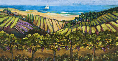 California Coastal Vineyards And Sail Boat Poster by Jen Norton