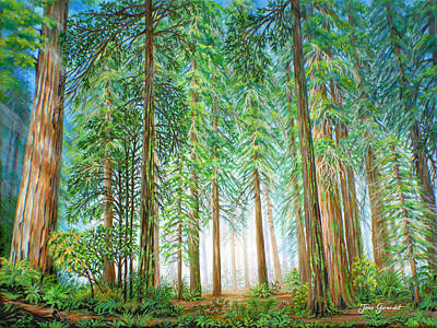 Poster featuring the painting Coastal Redwoods by Jane Girardot
