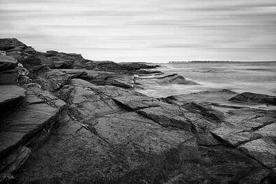 Coastal Rocks Black And White Poster