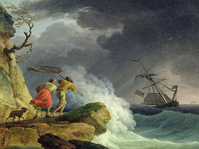 Coastal Scene In A Storm Poster by Claude Joseph Vernet