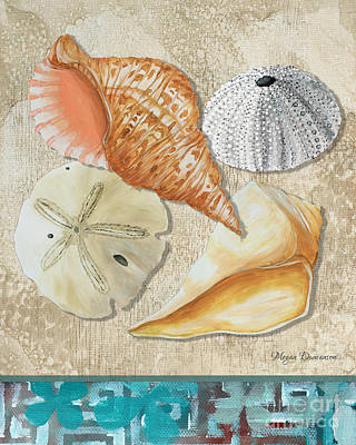Coastal Sea Shell Painting Original Art At The Beach By Megan Duncanson Poster by Megan Duncanson