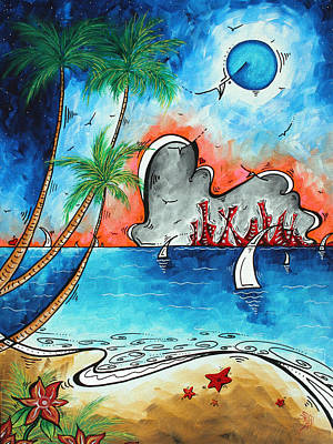 Coastal Tropical Beach Art Contemporary Painting Whimsical Design Tropical Vacation By Madart Poster