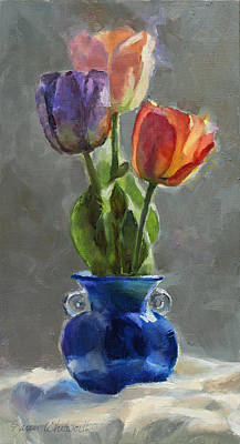 Cobalt And Tulips Still Life Painting Poster by Karen Whitworth