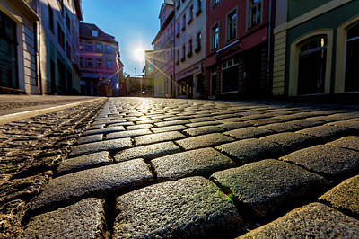 Cobbled Street And Sunlight Poster by Wladimir Bulgar