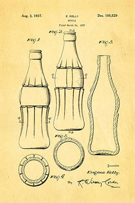 Coca Cola Bottle Patent Art 1937 Poster
