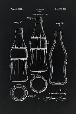 Coca Cola Bottle Vintage Patent On Black  Poster