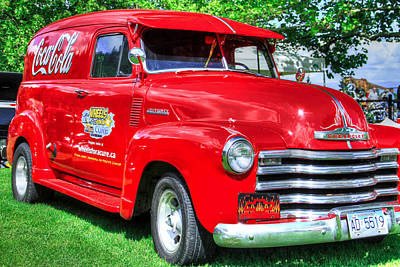 Coca Cola Red Retro Chevy Poster by Eti Reid
