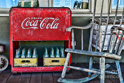 Coca Cola Vintage Cooler And Rocking Chair Poster by Paul Ward